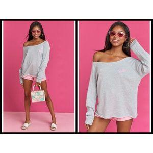 MUMU x BARBIE Fonda Off Shoulder Sweater Tunic